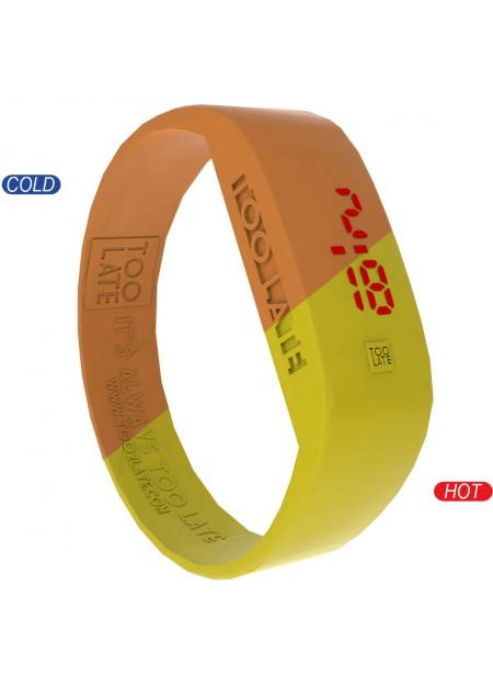 Orologio digitale unisex led watch termo Too late colore arancio in silicone numeri a led